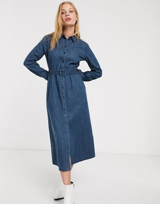 And other stories & denim button through belted shirt dress in blue
