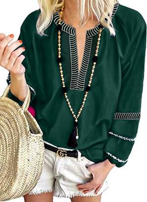 Actloe Women V Neck Casual Long Sleeve Solid Tops Boho Embroidered Blouses and Tops