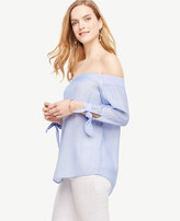 Ann Taylor Petite Off The Shoulder Tie Sleeve Top