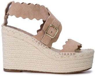 Chloé Woven Wedge with Double Scallop Strap