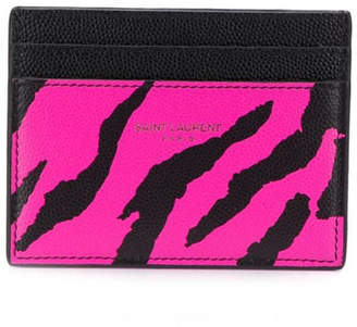 Saint Laurent animal print credit card case pink