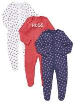 F&F 3 Pack of Blueberry Print Sleepsuits, Newborn Girl's