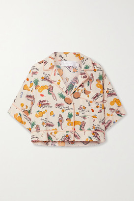 Zimmermann Riders Cropped Printed Crepe Shirt