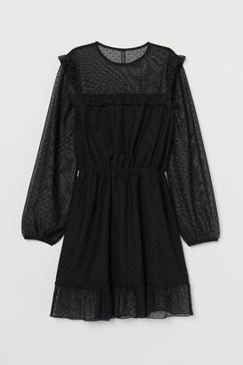 H&M Ruffle-trimmed Mesh Dress - Black
