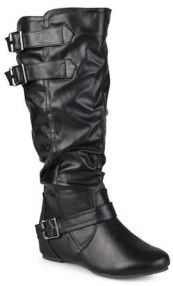 Brinley Co. Women's Cammie Buckle Detail Wide Calf Boots