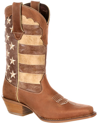 Durango Women's Western Boots BROWN - Brown Union Flag Crush by Leather Cowboy Boot - Women