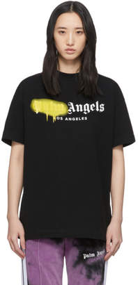 Palm Angels Black and Yellow Los Angeles Sprayed T-Shirt