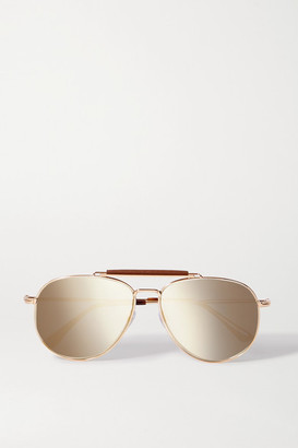 Tom Ford Sean Aviator-style Leather-trimmed Rose Gold-tone And Acetate Sunglasses - Tortoiseshell