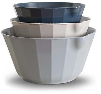 One Kings Lane Set of 3 Desa Mixing Bowls - Slate - slate/beige/indigo