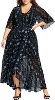 City Chic Floral Print Wrap Maxi Dress