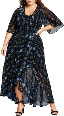 City Chic Floral Print Wrap Maxi Dress