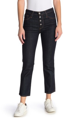 AG Jeans Isabelle High Waisted Button Straight Crop Jeans
