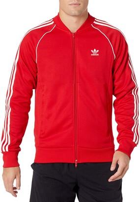 adidas mens Adicolor Classics Primeblue SST Track Jacket Scarlet/White Medium