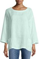 Eileen Fisher Organic Handkerchief Linen Tunic w/ Pockets, Petite