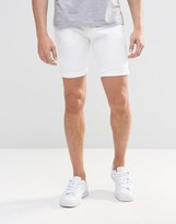 Asos Denim Shorts In Super Skinny In White