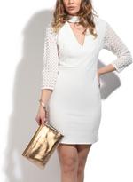 White Keyhole Mesh-Sleeve Dress