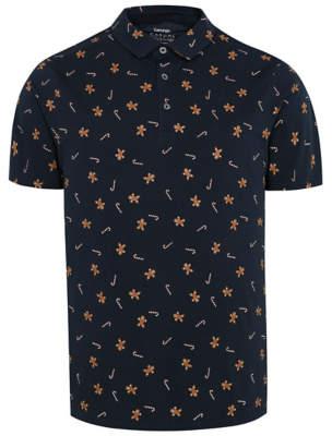 George Navy Gingerbread Man Print Christmas Polo Shirt