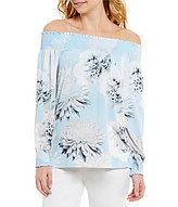 Calvin Klein Spaced Floral Print Matte Jersey Off-The-Shoulder Smocked Top