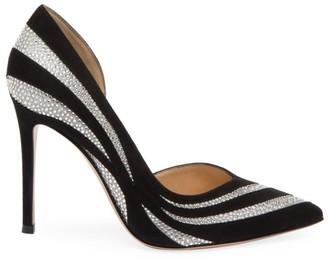 Gianvito Rossi Glitter Stripe Suede & Silk Pumps