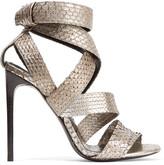 Tom Ford Metallic Python Sandals - Silver