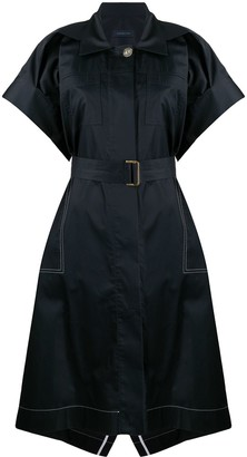 Eudon Choi Spread-Collar Belted Sateen Shirt Dress