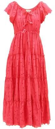 Innika Choo Alotta Gud Tiered Cotton Maxi Dress - Womens - Red