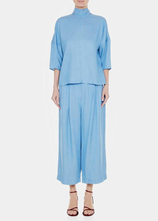 Tibi Chambray Drape Sculpted Sleeve Tie Top