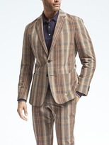Banana Republic Slim Madras Cotton Linen Suit Jacket