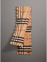 Burberry Scalloped Check Cashmere Scarf