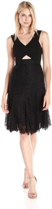 Rebecca Taylor Women's Lace Cutout Fit and Flare Dress