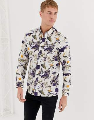Selected regular fit shirt with all over print-Navy