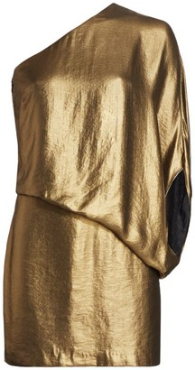 Halston Metallic One-Shoulder Draped Mini Dress