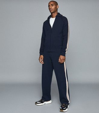 Reiss Cohen - Stripe Detailed Knitted Joggers in Navy
