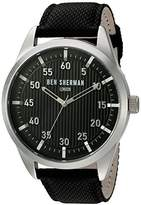 Ben Sherman Men's Quartz Watch with Black Dial Analogue Display and Black Leather Strap WB028B