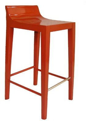 "Orren Ellis Schrock Modern Luxury Low Back 25"" Bar Stool Color: Orange"