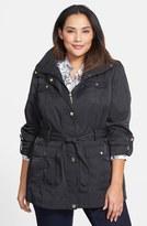 Ellen Tracy Short Techno Trench Coat (Plus Size)