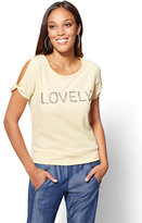 "New York & Co. Sparkling ""Lovely"" Graphic Logo Sweatshirt"