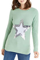 Oasis Sequin Flippy Star Jumper, Teal Green
