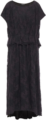 Ann Demeulemeester Layered Pleated Lace Midi Dress