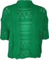 FashionMark Women's Plus Size Crochet Knitted Short Sleeve Cardigan (Brown)