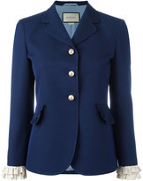 Gucci ruffle sleeved blazer - women - Silk/Acetate/Wool - 44