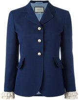 Gucci ruffle sleeved blazer - women - Silk/Wool/Acetate - 44