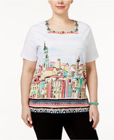 Alfred Dunner Plus Size Classics Scenic-Print Blouse