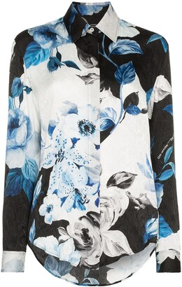 Off-White Floral Long-Sleeve Shirt