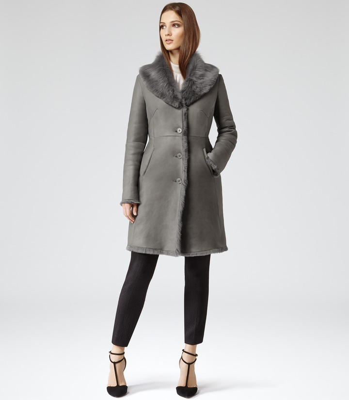 Reiss Opium LONG SHEARLING LEATHER COAT
