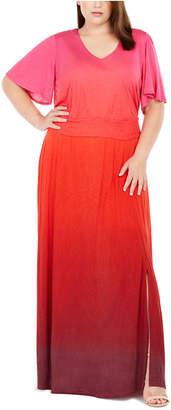 INC International Concepts Inc Plus Size Ombre Flutter-Sleeve Maxi Dress
