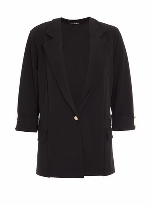Dorothy Perkins Womens Quiz Black Gold Button Blazer, Black