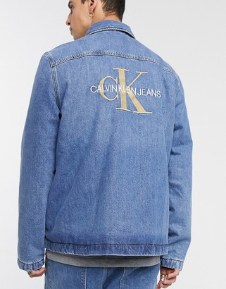 Calvin Klein Jeans padded shirt jacket in blue