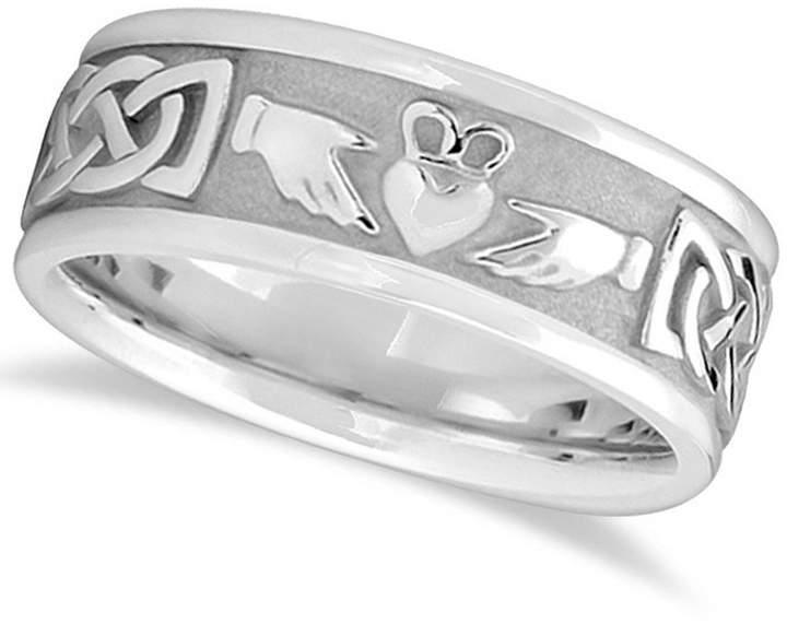 Celtic Allurez Handcrafted Claddagh Irish Engravable Wedding Ring Band for Men 14k White Gold