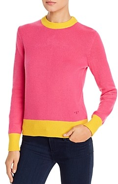Tory Burch Color-Blocked Cashmere Sweater